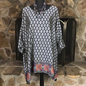 Plus Size | Silky Printed Tunic | Navy and Cream